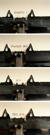 Chapter one and the end phrase written with old typewriter at old, yellow sheet of paper  photo