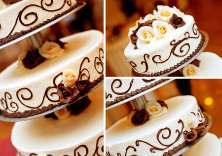 Wedding cake details  Chocolate roses, patterns and white cream  Stock Photo - 16364205