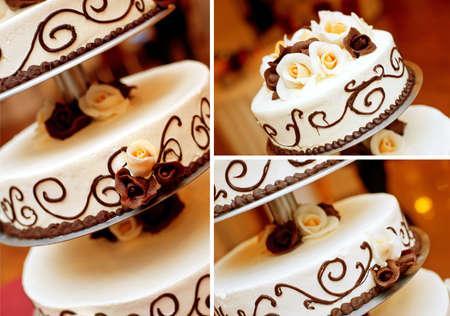 Wedding cake details  Chocolate roses, patterns and white cream Stock Photo - 16364205