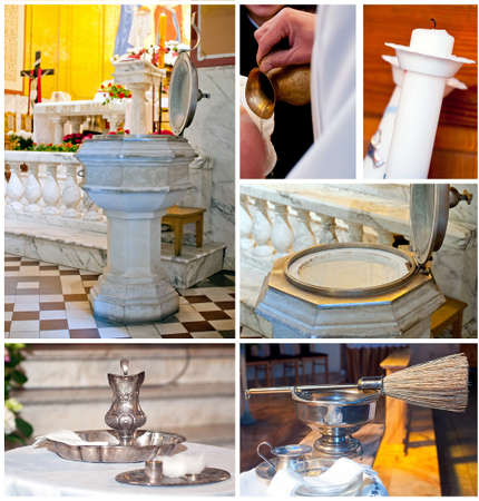 pours: Set of Christian, Catholic Christening details  That are  head pours, candle,   font, fount, sprinkler, oil  Photos taken inside of church during ceremony  Stock Photo