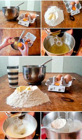 yolk: Set of photo related with baking cake process