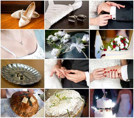 Conjunto de casamento e noivas preparativos do casamento Detalhes, bolo, unha e abotoaduras, an�is Banco de Imagens