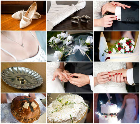 Set of wedding and bridal details  wedding preparations, cake, nail and cuff links, rings  photo