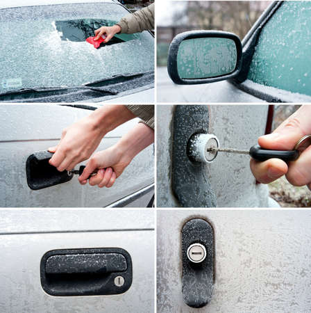 set of frozen car related photos  Unlocking a frozen car door  photo