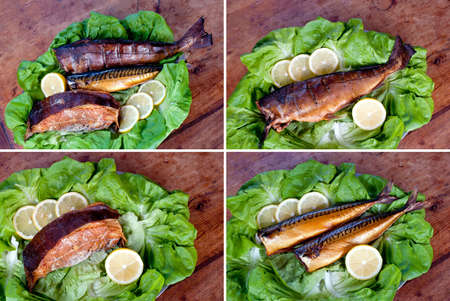 goldish: set of three kind of smoked sea fish  cod  hake , halibut and mackerel  Wood, lemons and lettuce leaves at background