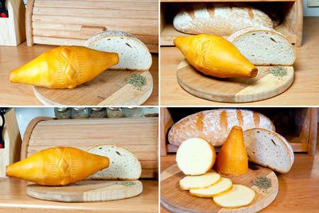 Oscypek - ポーランド語の伝統的なスモーク チーズ木の板でパンを一斤のタトラ山脈地域 Oscypek で生成される羊の牛乳で作られました。 写真素材