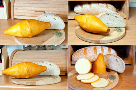 Oscypek - Polish traditional, smoked cheese made with sheep s milk  It is produced on the Tatra Mountains area  Oscypek at wooden board and loaf of bread