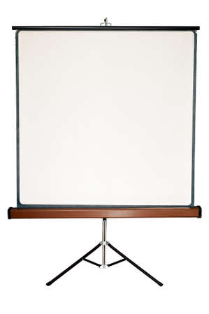 projector: Old blank presentation, slides, movie or projector roller screen on a tripod
