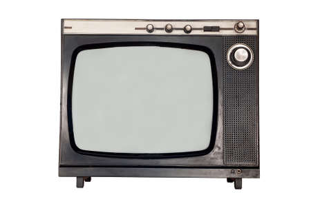Old retro TV with blank screen  Isolated object at white background photo