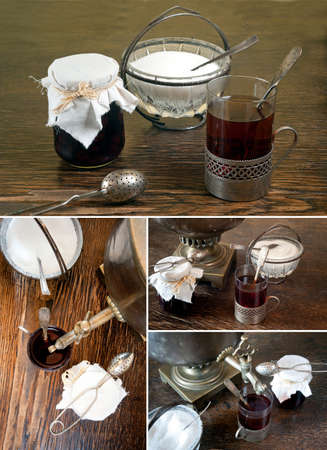 Old, samovar at the table  Glass of tea in glass holder  Retro sugar bowl with teaspoon  Jar with homemade preserves  photo