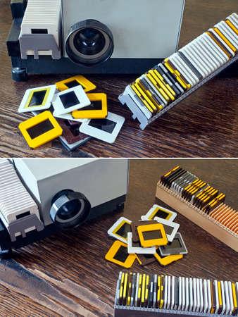 Projetor de slides do vintage velho no balc�o de Pilha de diapositivos Banco de Imagens