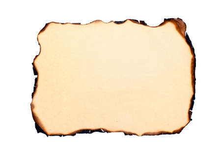 burnt wood: isolated sheet of yellowed burnt paper at white background Stock Photo