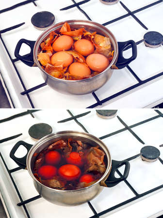 boiling: cooking eggs for Easter  Traditional coloration eggs with slate or onion skin