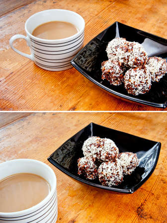 oatmeal cookie: Pile oatmeal chocolate cookies with desiccated coconut in black bowl and a cup of black coffee with milk