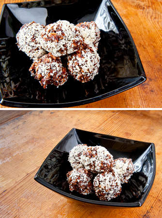 oatmeal cookie: Pile oatmeal chocolate cookies with desiccated coconut in black bowl