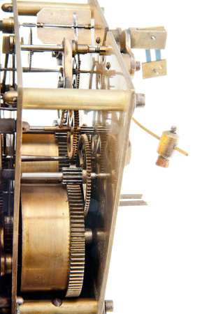 modes: vintage clock mechanism with racks and modes - isolated object