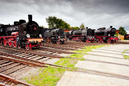 steam locomotives: Vintage steam locomotives  Side view