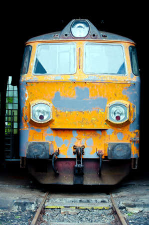Front view of old electric locomotive photo