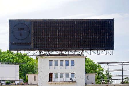 score board: old blank sport scoreboard at stadium