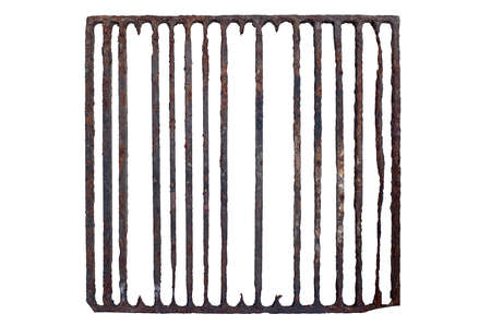 Isolated old, rusty prison grating  Standard-Bild
