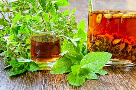 vodka bottle: glass, herb and bottle of herbal vodka