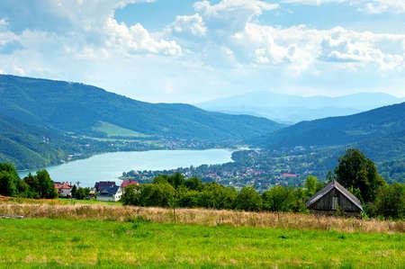Miedzybrodzie zywieckie - little city in beskidy mountain range in Poland  Stock Photo