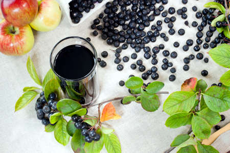 Aronia - Black Choke berry fruits and juice  Separated pile of fruit, twig with leaves, and bunch