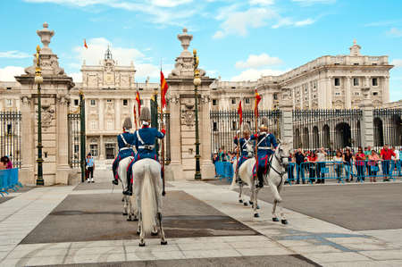City, Country – Month Date, Year  Caption descriptive text  Madrid, Spain - October 2, 2013   Changing of the horse Guard in Royal Palace of Madrid Editoriali