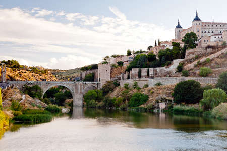 View of bridge at Tag river in Toledo - Spain Stock Photo