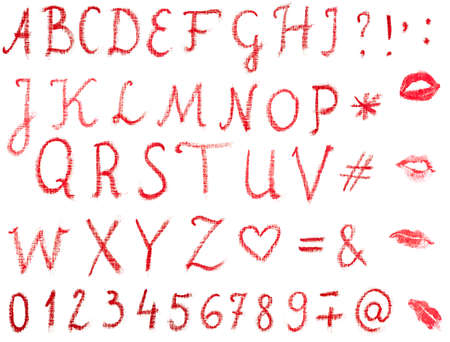 Red, uppercase lipstick alphabet made of written letters  Whole alphabet, signs and lips marks isolated on white