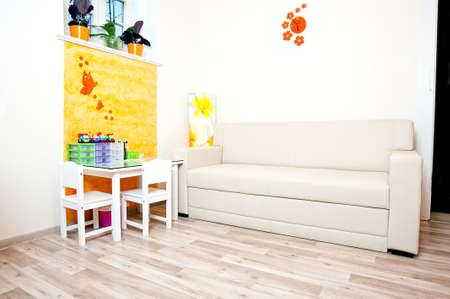 parlor: kids play area, kids corner or playground in spa salon  Kids area local service  hair salon, massage salon, beauty parlor or in spa  Stock Photo
