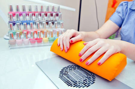 parlor: Hands waiting for manicure in beauty salon