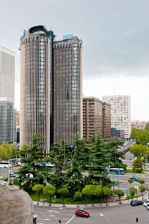 high-rise in Madrid near traffic circle