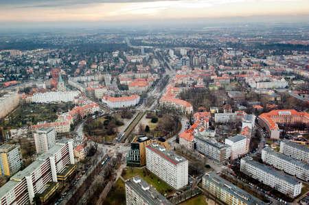 bird 's eye view: Cityscape view of Wroclaw - Powstansow Slaskich traffic circle Stock Photo