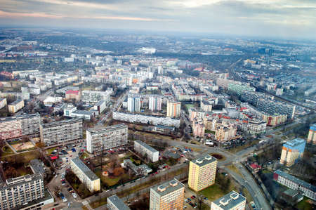 road block: blocks of flats in city of Wroclaw Stock Photo
