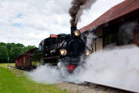 narrowgauge: narrow-gauge railway locomotive with smoke and steam