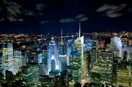 birds eye view: New York night cityline Stock Photo
