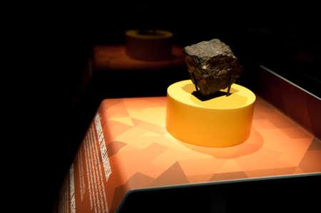 chelyabinsk: MONTREAL, CANADA - July 28: The chelyabinsk meteorite  exhibition in Biodome building, July 28 2014 Montreal, Canada Editorial