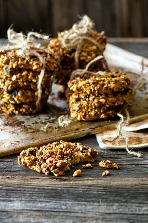 pile of homemade Cereal biscuits with sunflower seeds photo