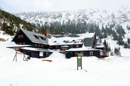 2015 in Karkonosze Mountains - Poland., KARKONOSZE MOUNTAINS, POLAND - MARCH 16: Samotnia refuge in Karkonosze Mountains by winter. It is a property of the Polish Country Lovers