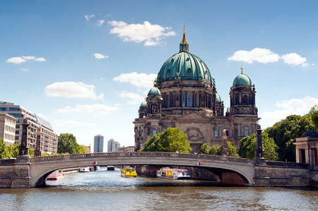 spree: The Cathedral of Berlin and Spree river Stock Photo