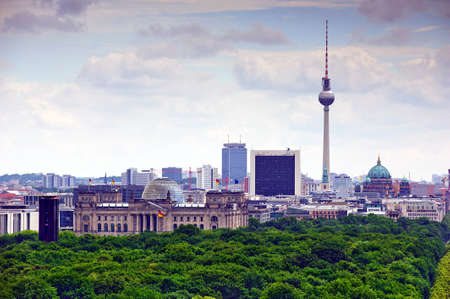 view of Berlin and landmarks: tv tower,  cathedral dome, Tiergarten and reichstag