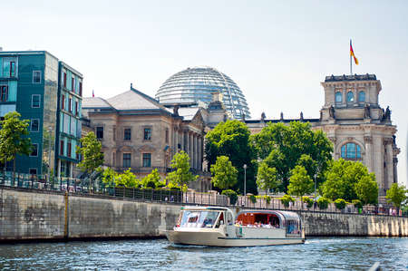 spree: reichstag view from spree river surface Stock Photo