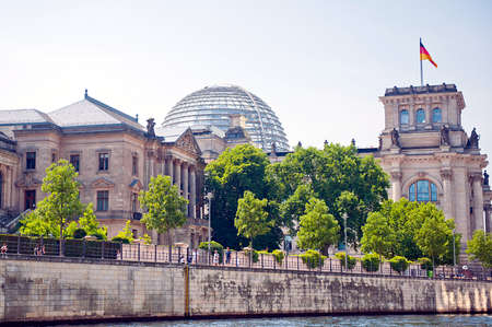 or spree: Reichstag view from the river surface spree