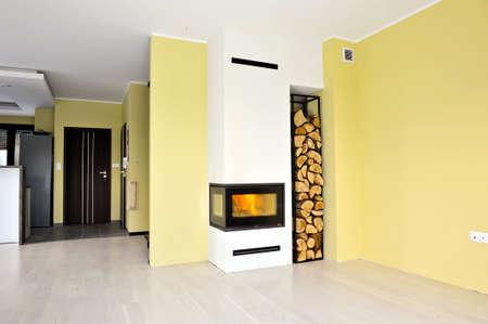 indoor inside: Installation of fireplace insert in livingroom step 5
