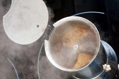 making coffee in moka pot