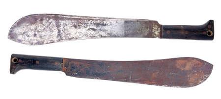 machete: isolated old rusty machete over white background