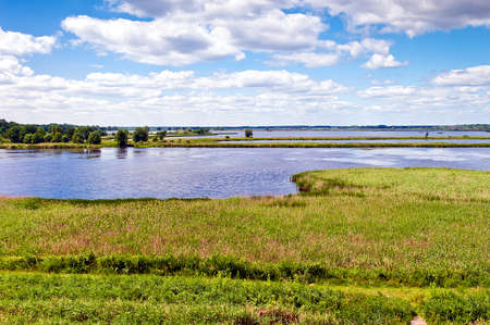 swampland: A marshland with water and sunny skies - Scenic Park of Przemkow, Poland Stock Photo