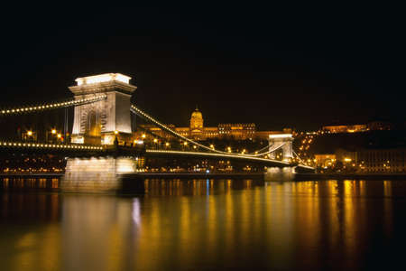 Budapest by night Chain Bridge photo
