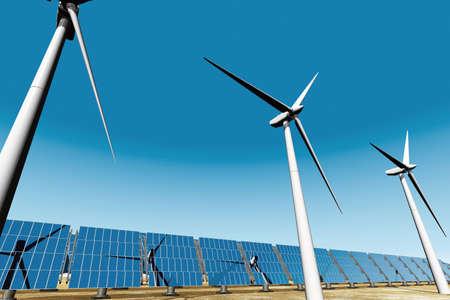 molinos de viento: Los paneles solares y turbinas eólicas Foto de archivo